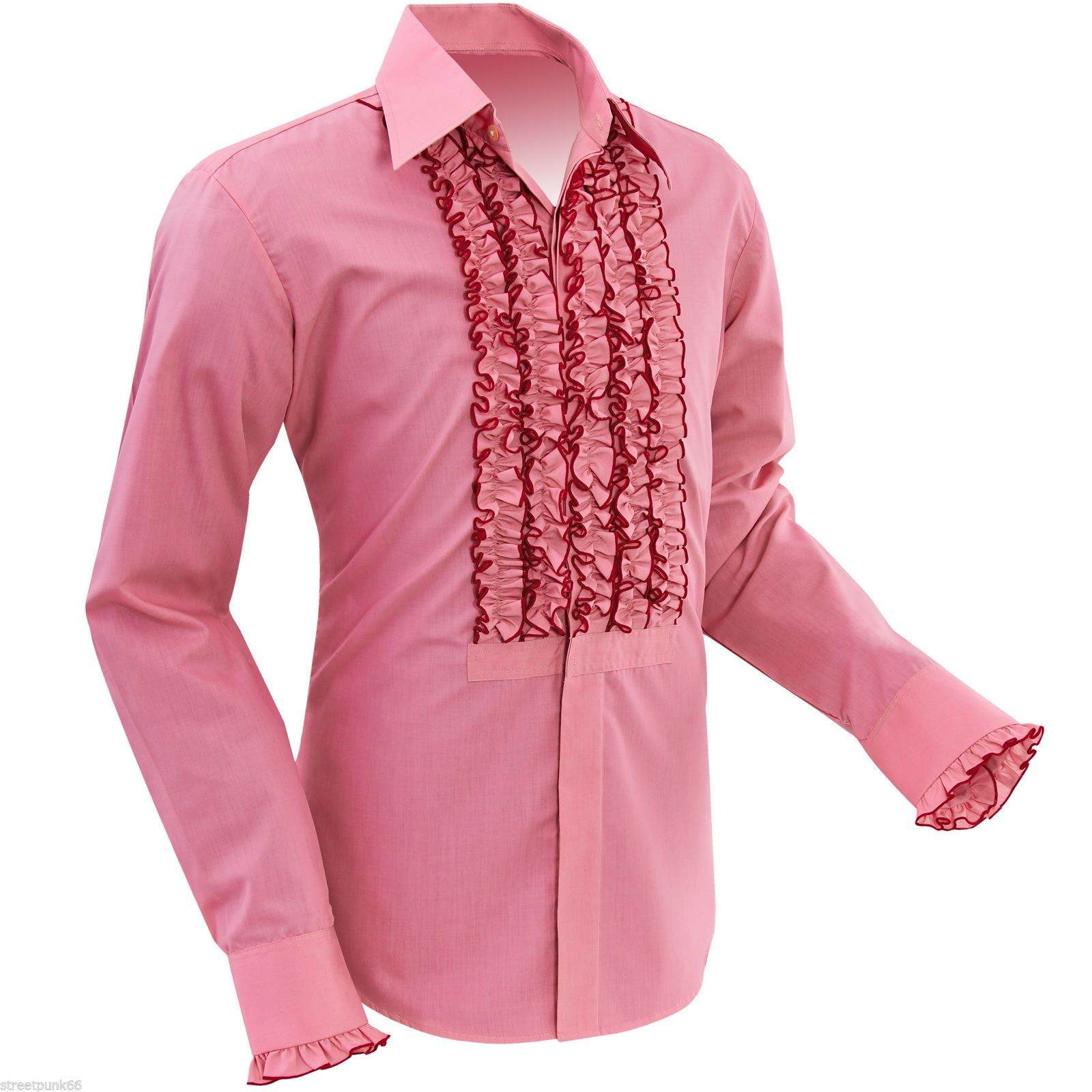 Mens Retro Ruche Old Rose Pink Ruffle Tuxedo Shirt Tux Frill Dinner